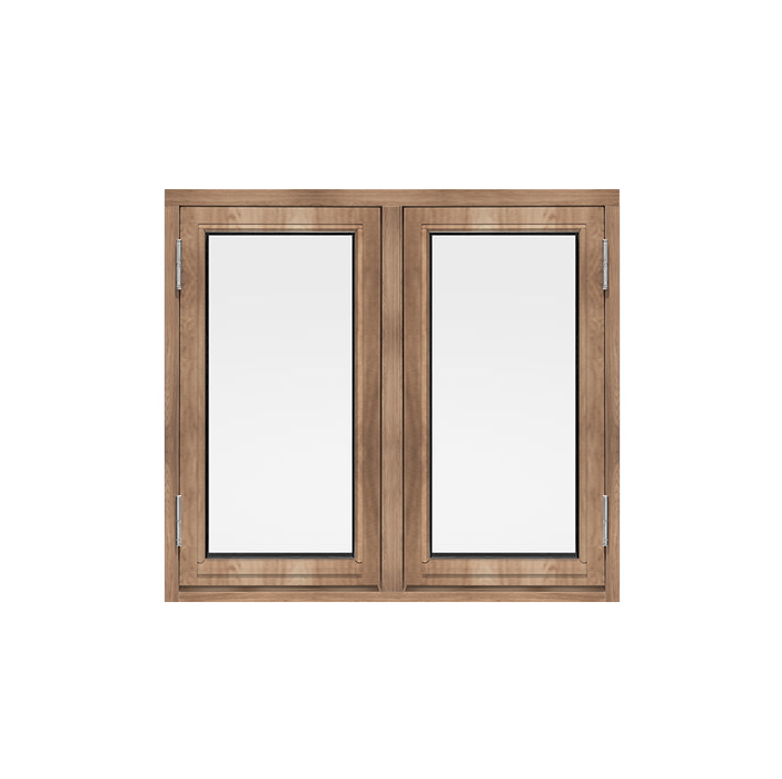 Wooden windows opening on one side