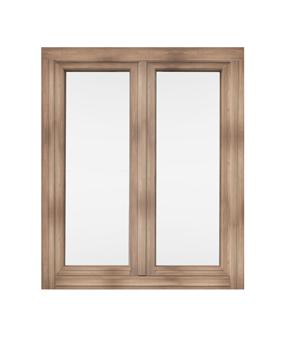 Wooden windows rotating on one side