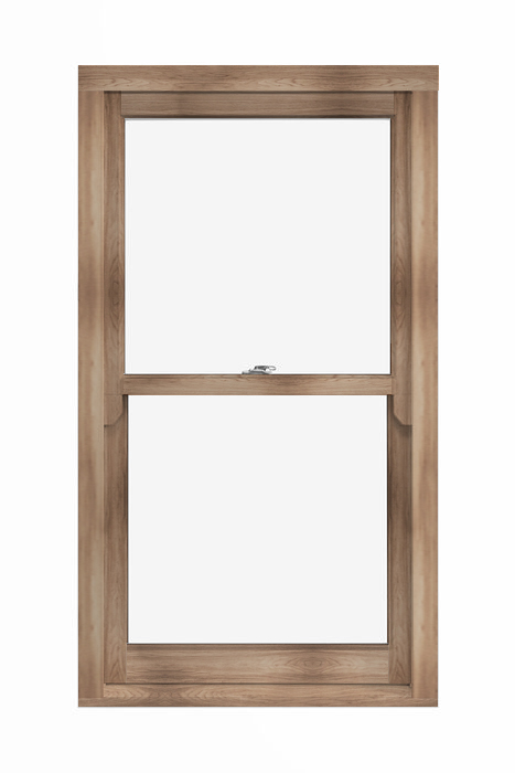 Vertically sliding wooden window